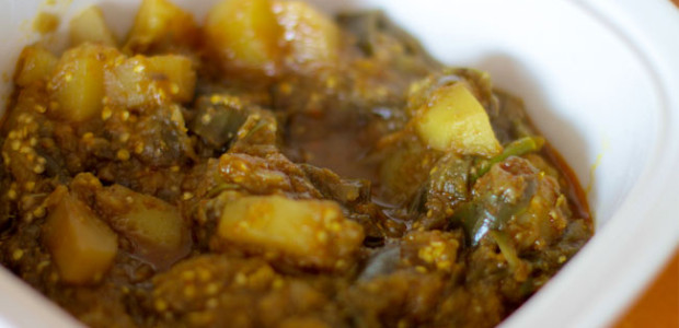 Aubergine/Brinjal With Potatoes Recipe